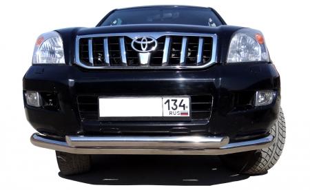 TOYOTA   Land Cruiser Prado 120     2003-2009   Защита переднего бампера двойная  76/60